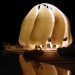 The night view of a model of the new Bahá'í House of Worship to be built in Chile.