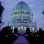 The Bahá'í House of Worship in Wilmette, Illinois, U.S.A. at night.